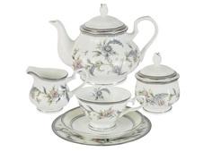 """Чайный сервиз 21 предмет на 6 персон """"Сад цветов"""" Emerald"""