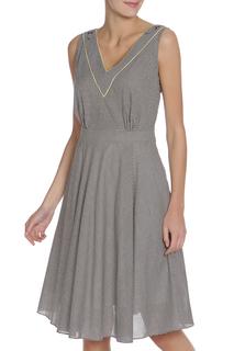 Платье в клетку с V-образным вырезом Caterina Leman