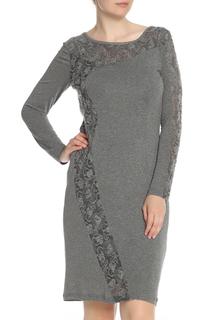 Трикотажное платье с вставками из гипюра Apanage