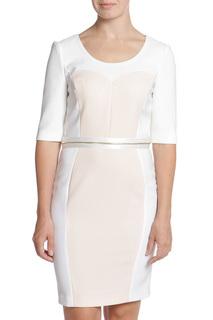 Стильное платье футляр с атласным поясом Pinko