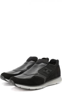 Комбинированные кроссовки без шнуровки с эластичными вставками Hogan