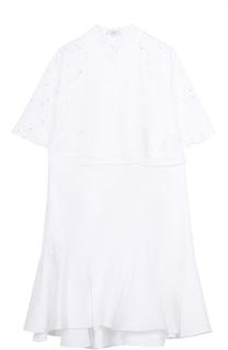 Платье-рубашка с кружевным лифом и оборкой Erdem