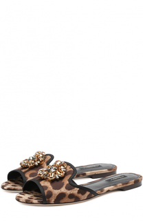 Шлепанцы Bianca из текстиля с брошью Dolce & Gabbana