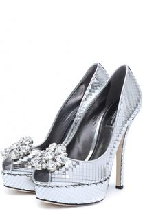 Туфли Bette из металлизированной кожи с брошью Dolce & Gabbana