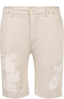 Хлопковые шорты с декоративными потертостями и заплатками Frankie Morello