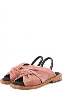 Бархатные сандалии с кожаным ремешком ROBERT CLERGERIE