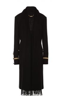 Пальто прямого кроя с контрастной отделкой и кашемировым шарфом Givenchy