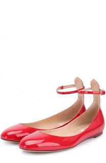 Лаковые балетки Tan-Go с ремешком на щиколотке Valentino