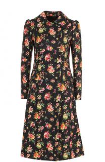 Двубортное пальто с цветочным принтом Dolce & Gabbana