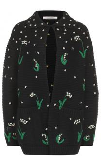Кардиган фактурной вязки с вышивкой Valentino