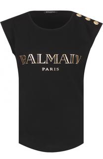 Топ без рукавов с металлизированным логотипом бренда Balmain