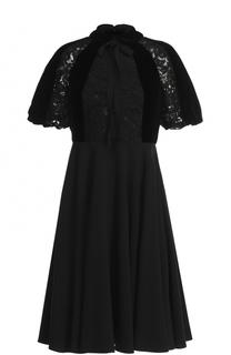 Платье-миди с кружевной отделкой и бантом Valentino