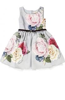 Платье-миди с пышной юбкой и принтом Monnalisa