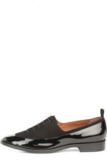 Лаковые ботинки с замшевыми вставками Armani Collezioni