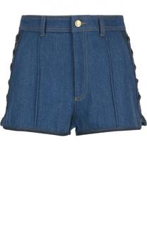 Джинсовые мини-шорты со шнуровкой Alexander McQueen