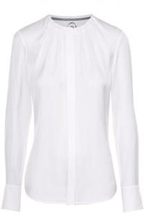 Приталенная блуза с круглым вырезом и защипами BOSS