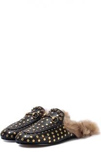 Кожаные сабо Princetown с заклепками Gucci