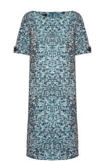 Платье прямого кроя с вырезом-лодочка и ярким принтом Escada