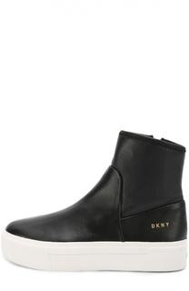 Кожаные полусапоги на контрастной подошве DKNY