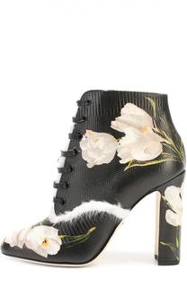 Кожаные ботильоны Vally с цветочным принтом Dolce & Gabbana