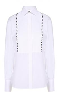 Хлопковая блуза прямого кроя с шипами Valentino