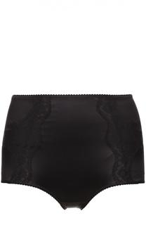 Шелковые трусы с завышенной талией и кружевной отделкой Dolce & Gabbana