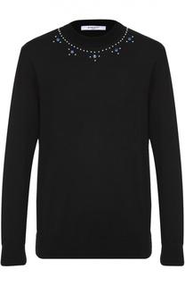 Шерстяной джемпер с декоративной отделкой заклепками Givenchy