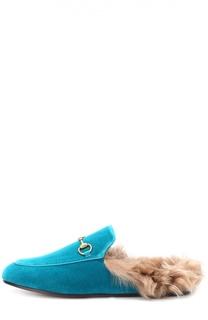 Бархатные сабо Princetown с пряжкой-трензелем Gucci