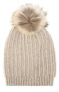 Вязаная шапка с меховым помпоном Inverni