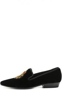 Бархатные лоферы Deven с вышивкой Saint Laurent