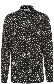 Рубашка из вискозы с принтом в виде звезд Saint Laurent