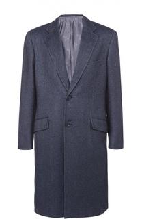 Однобортное пальто из смеси кашемира и шелка Brioni