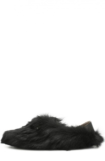 Домашние кожаные туфли с отделкой из натурального меха Fendi