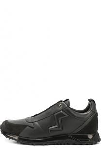 Кожаные кроссовки с замшевой отделкой Fendi