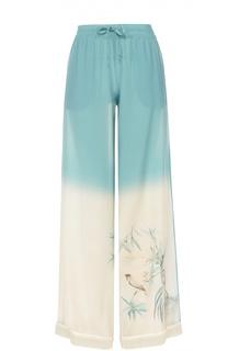 Шелковые брюки в пижамном стиле с эластичным поясом Valentino