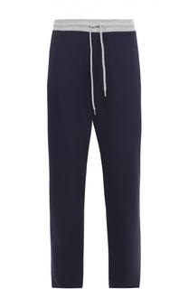 Хлопковые брюки прямого кроя с контрастным поясом Dirk Bikkembergs