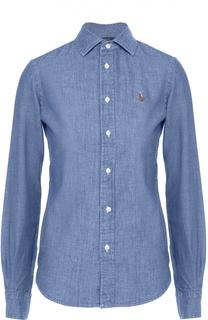 Приталенная хлопковая блуза с вышитым логотипом бренда Polo Ralph Lauren