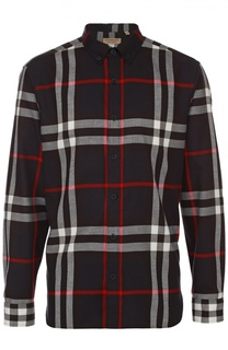 Хлопковая рубашка с воротником button down Burberry