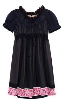 Мини-платье с завышенной талией и рукавом-фонарик Chloé