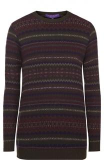 Кашемировый пуловер с круглым вырезом и принтом Ralph Lauren