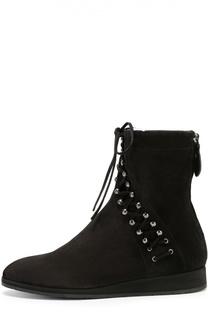 Замшевые ботинки с декоративной шнуровкой Alaia