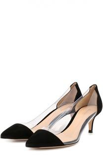 Замшевые туфли Plexi на каблуке kitten heel Gianvito Rossi