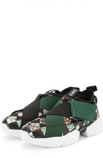 Комбинированные кроссовки с принтом Emilio Pucci