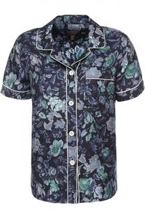 Шелковая блуза в пижамном стиле с цветочным принтом Burberry