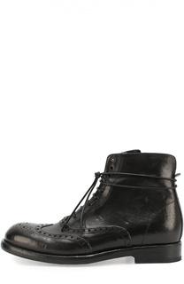 Высокие кожаные ботинки с брогированием Mauron