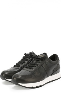 Кожаные кроссовки на контрастной подошве DKNY