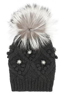 Кашемировая шапка с меховым помпоном и стразами Dolce & Gabbana