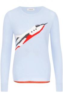 Кашемировый пуловер с круглым вырезом и принтом Coach