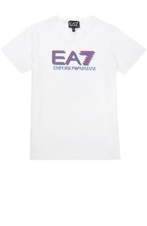 Хлопковая футболка с контрастной надписью Ea 7