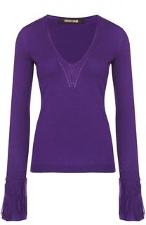 Приталенный пуловер с V-образным вырезом с кружевной отделкой Roberto Cavalli